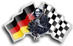 DEATH The Grim Reaper Design With Germany German Flag Motif External Vinyl Car Sticker 130x80mm